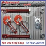 Competition Red Anodised Bonnet Boot Pins Fastener Sliding Alloy Plate Kit